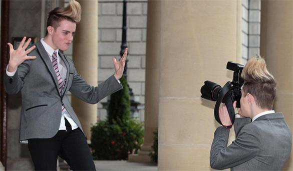 Jedward in Dublin yesterday at the launch of the 2010 Londis 'Write up my Street' book in aid of Barnardos