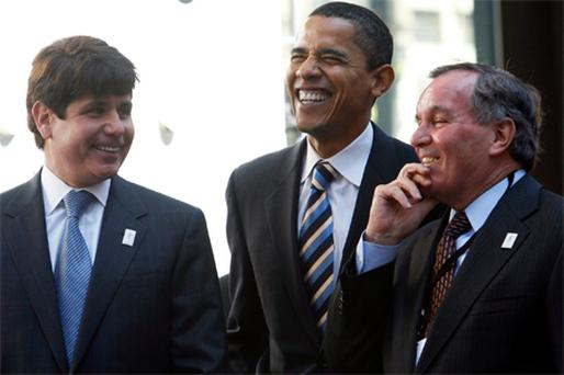 Illinois Governor Rod Blagojevich, then-Senator Barack Obama and Richard M Daley at a rally in 2007. Daley is credited with bringing a young Obama into politics