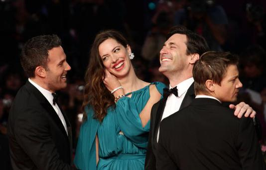 VENICE, ITALY - SEPTEMBER 08: Ben Affleck, Rebecca Hall, Jon Hamm and Jeremy Renner attend the 'The Town' premiere during the 67th Venice Film Festival at the Sala Grande Palazzo Del Cinema on September 8, 2010 in Venice, Italy. (Photo by Vittorio Zunino Celotto/Getty Images)