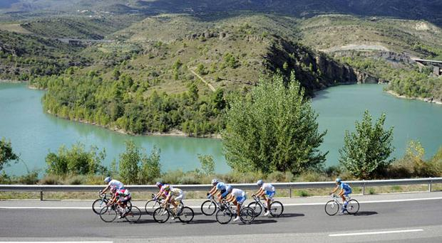The leading group have no time to enjoy the scenery during the 12th stage of La Vuelta from Andorra to Lleida yesterday. Photo: Reuters
