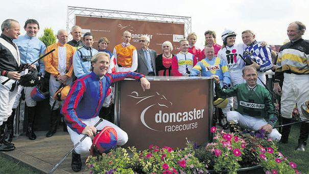 Legends (clockwise from left) Pat Eddery, Tony Dobbin, George Duffield, Graham Bradley, Ernie Johnson, Alex Greaves, Dale Gibson, Lester Piggott, race sponsor Barbara Wilkinson, Kevin Darley, John Francombe, Gary Bardwell, Jamie Osborne, Gay Kelleway, Steve Smith Eccles, Graham Thorner, John Reid and Charlie Swan.