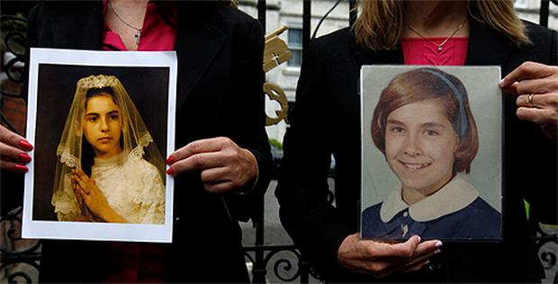 US abuse victims Therese Albrecht and Barbara Blaine with their pictures at the Vatican Embassy, London. Photo: Reuters