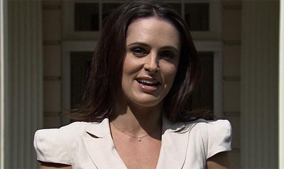 Grainne Seoige delivers reporting from Clarence House, London during the first broadcast of 'Daybreak' on Monday