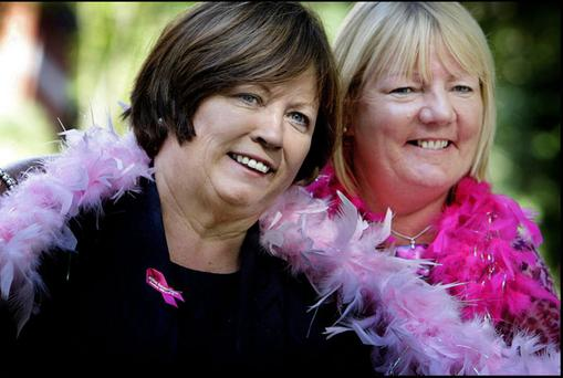 Health Minister Mary Harney (left) with cancer survivor Norma Mulcahy at the launch of Breast Cancer Awareness Month 2010 at The Irish Cancer Society in Ballsbridge, Dublin. Photo: Steve Humphreys