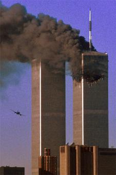 Hijacked United Airlines Flight 175 flies toward the Twin Towers shortly before impact nine years ago
