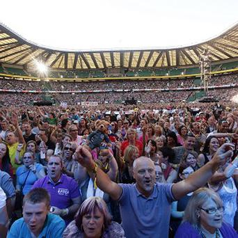 Concertgoers at the Help For Heroes Concert at Twickenham Stadium