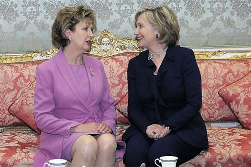 President Mary McAleese, with US Secretary of State Hillary Clinton, has taken a 10pc pay cut but presidential pay could be trimmed even further