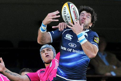 Leinster's Shane Horgan wins the high ball ahead of Cardiff Blues' Tom James during Saturday's Magners League clash at the RDS. Photo: Paul Mohan / Sportsfile