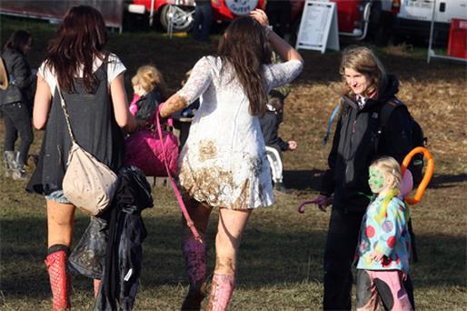 Some muddy music fans yesterday at the Temple House Festival in Ballymote, Co Sligo