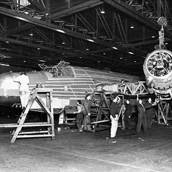 Wellington bomber being built at a factory in Broughton, North Wales
