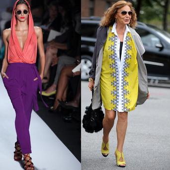 From left: A model at the Diane Von Furstenberg spring/summer 2011 show in New York and Diane Von Furstenberg arrrives at New York Fashion Week. Photo: Getty Images