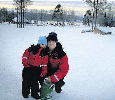 A sleigh ride and a visit to Santa Claus Village were part of the adventure for Nick and his daughter Millie.
