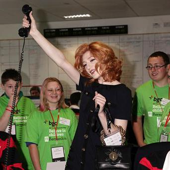 Nicola Roberts on the trading floor during the BGC Partner's 6th Annual Charity Day