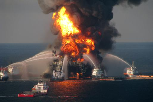 Fire boat response crews battle the blazing remnants of the off shore oil rig Deepwater Horizon. Photo: Getty Images