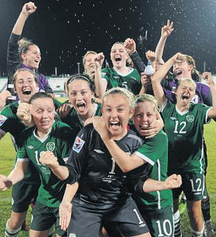 The squad celebrating after the match. Photo: Sportsfile