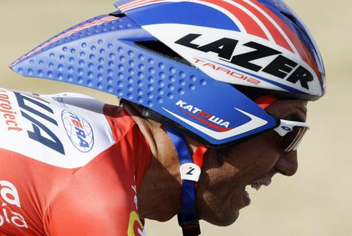 Katusha rider Joaquin Rodriguez of Spain competes during yesterday's Time Trial in the Vuelta where he surrendered his overall lead to Vincenzo Nibali. Photo: Reuters