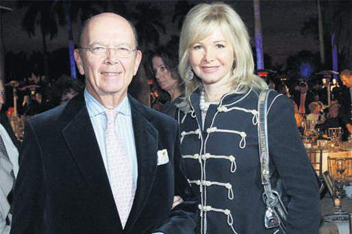 Billionaire American investor Wilbur Ross with his third wife, Hilary Geary Ross. Photo: Getty Images