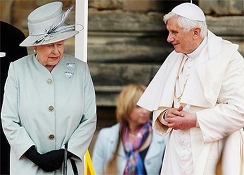 Queen Elizabeth II meets Pope Benedict XVI at the Palace of Holyroodhouse in Edinburgh. Photo: Press Association