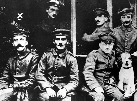Corporal Adolf Hitler, left, with other soldiers during the First World War. Photo: Getty Images