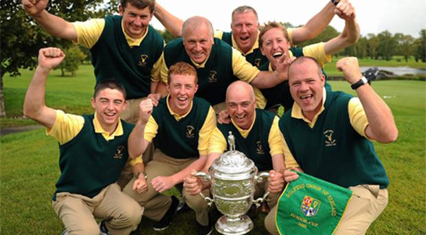 The Portumna Golf Club team of (back row, from left) Shane Ryan, Matt Donoghue, John Cleary and Niall Kilkenny, (front row, from left) Shane McHugo, John Cleary, Ger Lynch and Pat Quinlan celebrate after winning the Bulmers Junior Cup Final at Castlebar Golf Club
