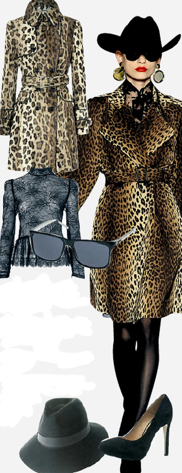 Leopard trench, €499 at Karen Millen; Lace blouse, €62 at Oasis; Wide-brim fedora, €29.12 at Asos.com; Sunglasses, €46, and suede heels, €99, both at Topshop.com