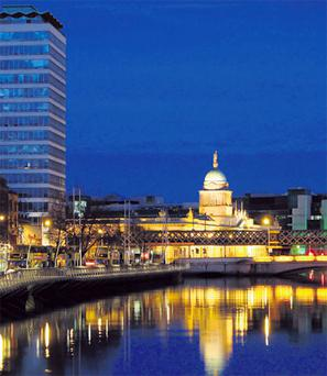 The Customs House overlooking the River Liffey