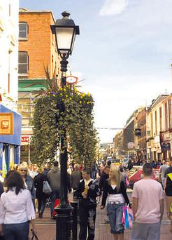 Bustling Talbot Street in Dublin's city centre