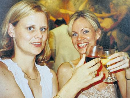 Ann Callaly (inset and above, on right) celebrating with her sister Rachel at a family wedding in Rome in 2003