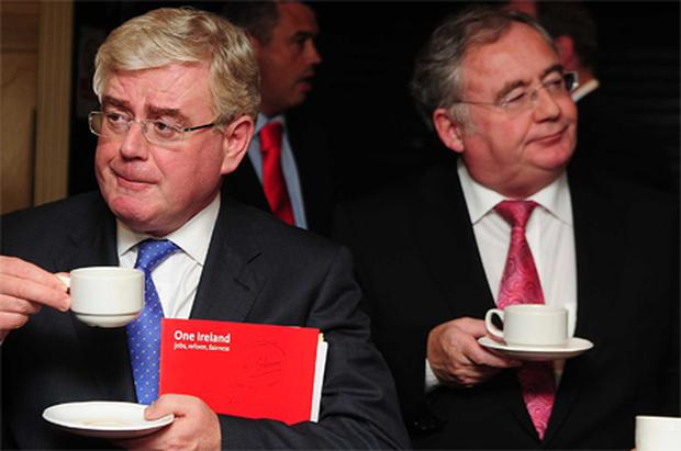 TEA-TOTALLERS: Eamon Gilmore and Pat Rabbitte enjoy some light refreshments at the Labour Party think-in at the Abbey Hotel, Roscommon, last week