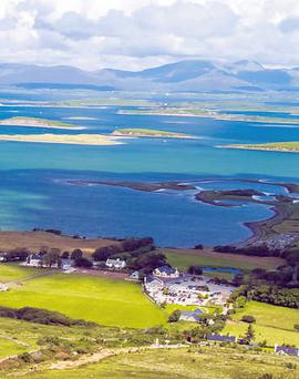 A stunning view of Clew Bay and the countryside from Croagh Patrick in Co Mayo