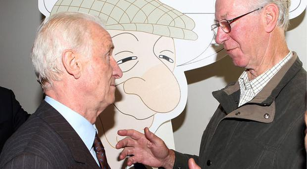 Giovanni Trapattoni came face to face with former Irish manager Jack Charlton in Dublin yesterday.