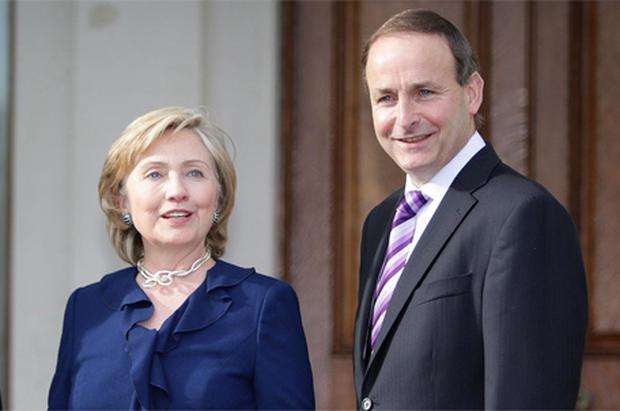 Foreign Affairs Minister Micheal Martin and US Secretary of State Hillary Clinton