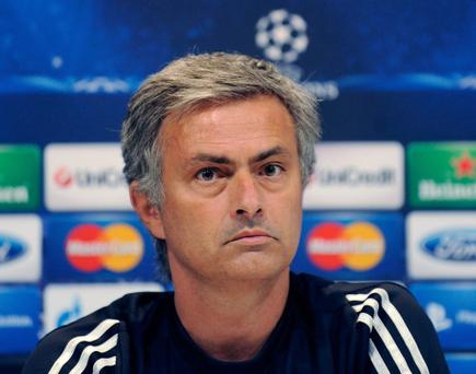 MADRID, SPAIN - SEPTEMBER 17: Head coach Jose Mourinho of Real Madrid gives a press conference ahead of his team's training session at Valdebebas training ground on September 17, 2012 in Madrid, Spain. (Photo by Denis Doyle/Getty Images)