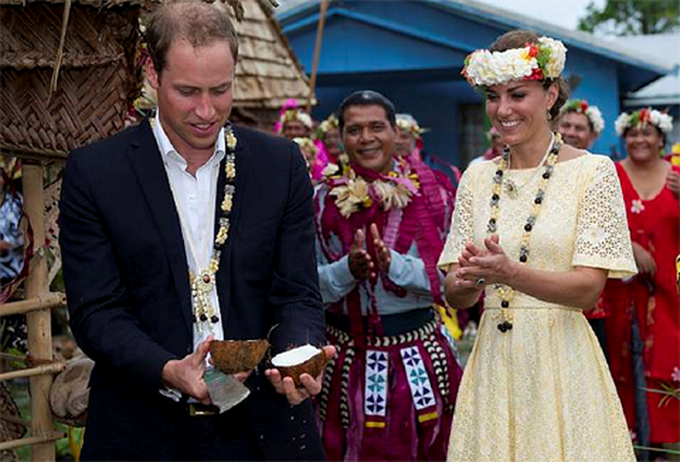 Prince William and his wife Kate on the Solomon Islands.