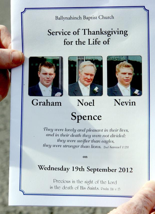 Order of service for the funeral of Noel Spence, 68, and his sons Graham, 30, and Nevin, 22 who all died trying to save each other in a slurry tank on the family farm near Hillsborough, Co Down. PRESS ASSOCIATION Photo. Picture date: Wednesday September 19, 2012. The extraordinary bravery of a young woman who tried to rescue her father and two brothers - one of them a top Ulster rugby player - when they were overcome by killer fumes emerged today. Emma Spence twice climbed into a manhole and then down into a slurry tank on the family farm near Hillsborough, Co Down, where her father Noel, 68, and brothers, Graham, 30, and Nevin, 22, all died trying to save each other. See PA story ULSTER Tank. Photo credit should read: Paul Faith/PA Wire