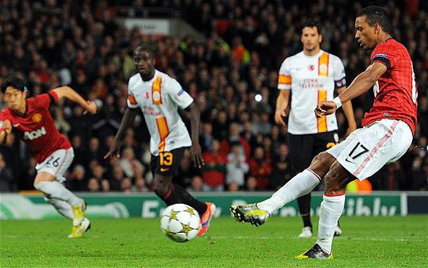 Fluffed lines: Nani misses a penalty for Manchester United against Galatasaray
