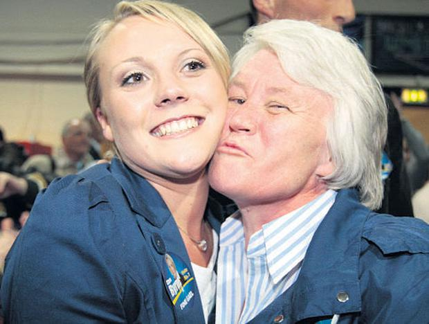 Fine Gael TD Catherine Byrne pict ured with her daughter Clare