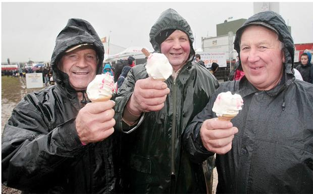 Ice creams in the rain at the National Ploughing Championships in Heathpark, Co Wexford. Photo: Frank McGrath