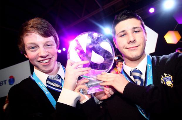Mark Kelly l and Eric Doyle from Synge Street CBS carried off the top physics prize in the European Union Contest for Young Scientists
