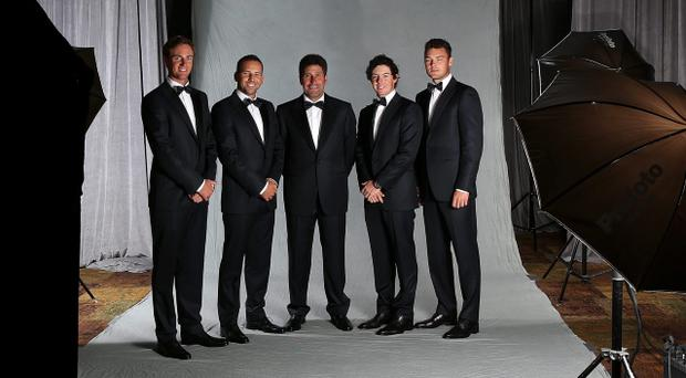 LOMBARD, IL - SEPTEMBER 26: (L-R) Nicolas Colsaerts, Sergio Garcia, Jose Maria Olazabal, Rory McIlroy and Martin Kaymer of Europe pose for a portrait at the Ryder Cup host hotel prior to the start of the 39th Ryder Cup Gala on September 26, 2012 in Lombard, Illinois. (Photo by Ross Kinnaird/Getty Images)