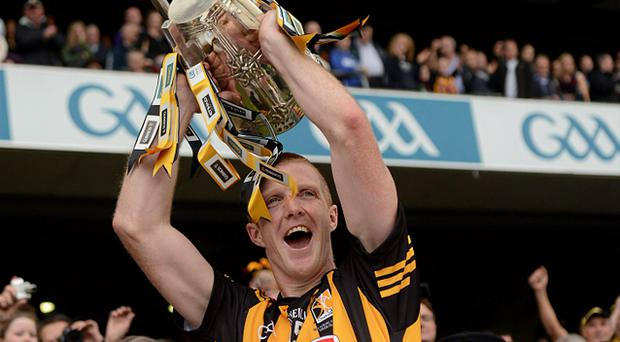 Henry Shefflin, Kilkenny, lifts the Liam MacCarthy Cup after victory over Galway in the All-Ireland final
