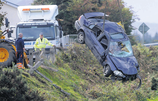 The scene at Rathbeg, Rathmore, Co Kerry, following a car crash that claimed the life of a youngman.