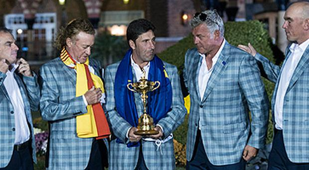 Paul McGinley, left, and Darren Clarke, second right, are in the frame to captain Europe in the 2014 Ryder Cup
