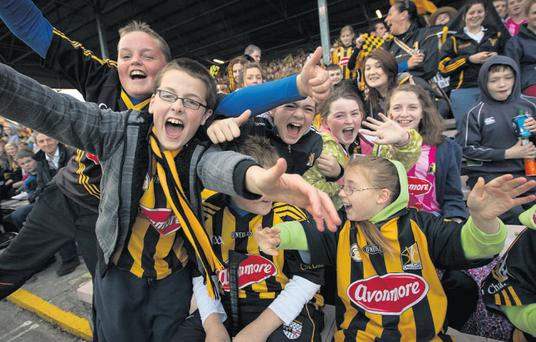 The crowd at Nowlan Park welcome the Kilkenny hurlers home in Kilkenny city last night