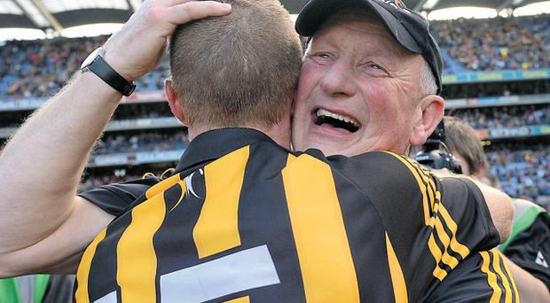 Brian Cody and Henry Shefflin embrace at the final whistle after collecting their ninth All-Ireland title as manager and player respectively