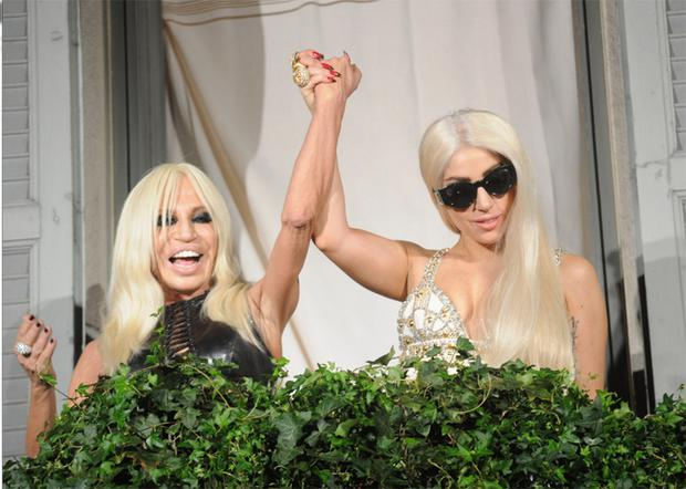 Donatella Versace and Lady Gaga are seen at Palazzo Versace on October 1, 2012 in Milan, Italy