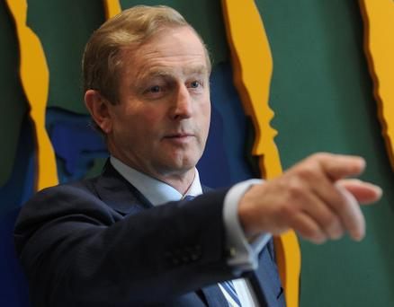 26/9/2012; Taoiseach, Enda Kenny, T.D., speaks at the official opening of Leinster Rugby Headquarters at Belfield, UCD Campus. Pic credit: Damien Eagers