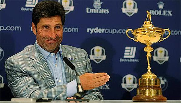 Europe captain Jose Maria Olazabal with the Ryder Cup during a press conference in London