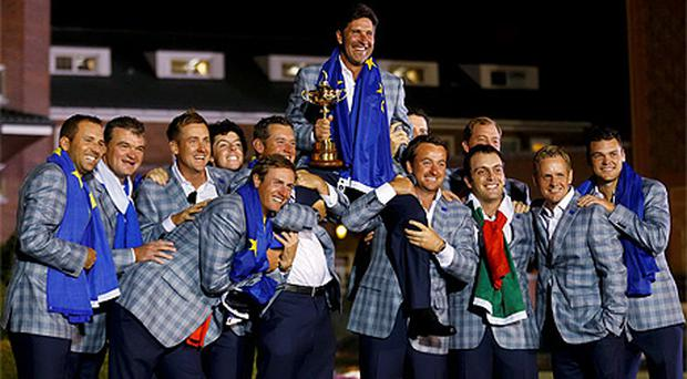 Team Europe celebrate after their victory in the Ryder Cup