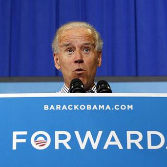 Bad weather threatened to scupper US Vice President Joe Biden's campaigning (AP)